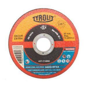 DISCO DE CORTE FINO PREMIUM SECUR EXTRA A46Q-BFXA ( 2 TELAS ) 115MM ( 4 1/2″ ) TYROLIT